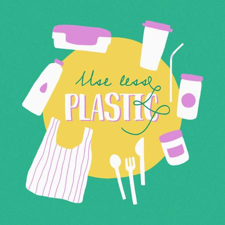 Eco Concept with Plastic Products illustration Instagramデザインテンプレート
