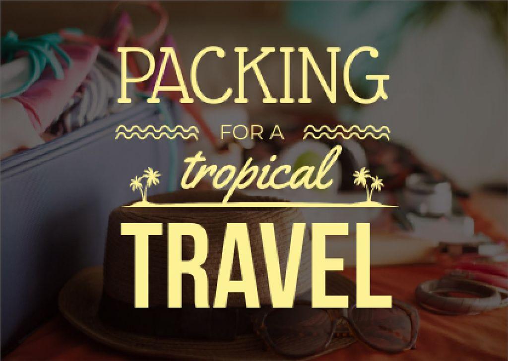 Plantilla de diseño de Packing for tropical travel Card