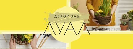 Decor Offer with Woman transplants Flowers Facebook cover – шаблон для дизайна