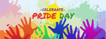 Modèle de visuel Pride Day Announcement with Colorful Hands - Facebook cover