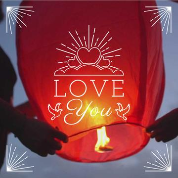 Loving Couple lighting sky Lantern on Valentine's Day