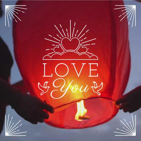 Loving Couple lighting sky Lantern on Valentine's Day Animated Post Modelo de Design