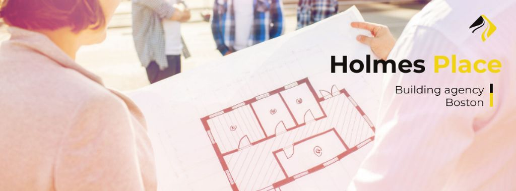 Building agency with engineers Facebook cover Modelo de Design