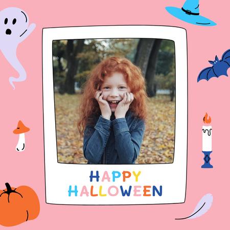 Halloween Greeting with Cute Girl in Autumn Park Animated Post – шаблон для дизайна