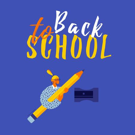 Modèle de visuel Back to School with Girl holding Huge Pencil - Animated Post