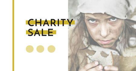 Charity Sale Announcement with Poor Little Girl Facebook AD Modelo de Design