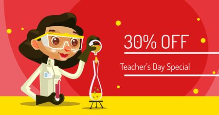 Teacher's Day Offer with Cartoon Female Teacher Facebook AD Modelo de Design
