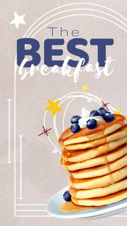 Modèle de visuel Pancakes with Honey and Blueberries for Breakfast - Instagram Story