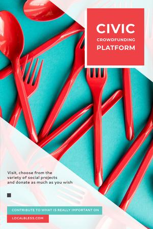 Crowdfunding Platform with Red Plastic Tableware Pinterest Modelo de Design