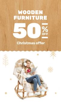 Wooden Furniture Sale with Woman in Rocking Chair