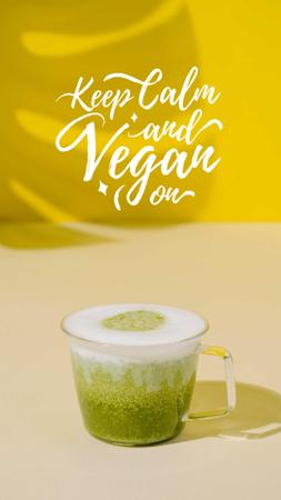 Vegan Lifestyle concept with Green Smoothie Instagram Story – шаблон для дизайна