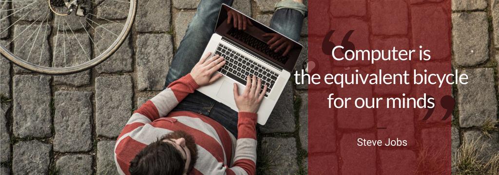 Computer Quote Man Typing on Laptop — Crea un design