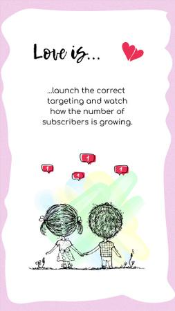 Plantilla de diseño de Cute Love Phrase with Couple Illustration Instagram Story