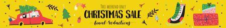Christmas Sale Announcement Car Delivering Tree Leaderboard Modelo de Design