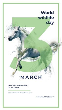 World Wildlife Day Wild running horse Instagram Story – шаблон для дизайну