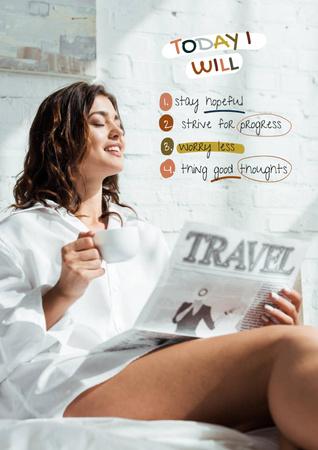 Mental Health Inspiration with Woman reading Magazine Poster Modelo de Design