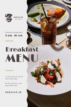Ontwerpsjabloon van Pinterest van Breakfast Menu Offer with Greens and Vegetables