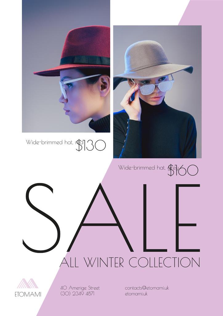 Seasonal Sale with Woman Wearing Stylish Hat — ein Design erstellen