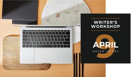 Template di design Workshop Announcement with Laptop on Table FB event cover