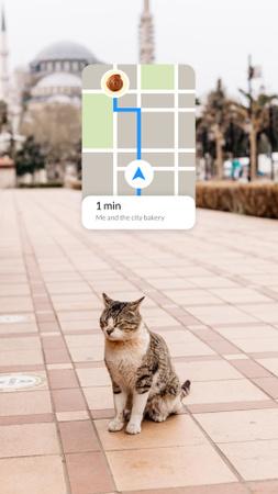 Plantilla de diseño de Funny Bakery Promotion with Cat in City Instagram Story