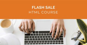 Course Offer with Man working on Laptop