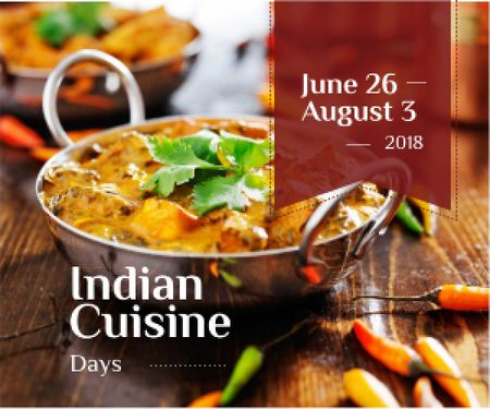 Plantilla de diseño de advertisement of Indian cuisine days Medium Rectangle
