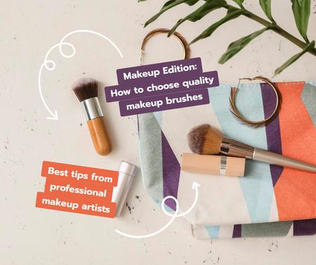 Modèle de visuel Makeup Tips with cosmetics and brushes - Facebook