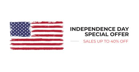 Ontwerpsjabloon van Facebook AD van Independence Day Special Offer with American Flag