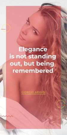 Elegance quote with Young attractive Woman Graphic Modelo de Design