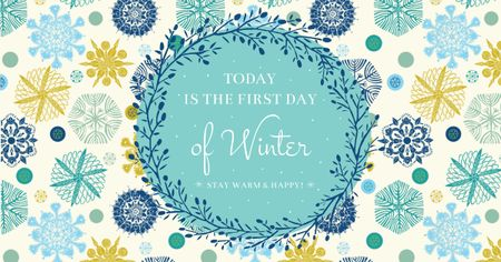 First day of winter on Snowflakes pattern Facebook AD Tasarım Şablonu