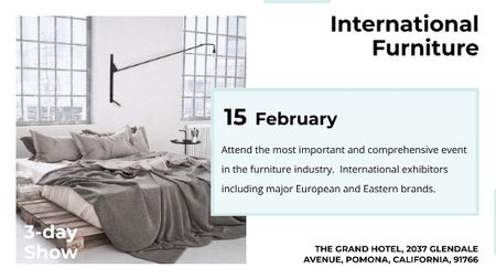 Plantilla de diseño de Furniture Show Bedroom in Grey Color Title