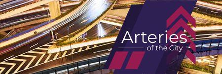Ontwerpsjabloon van Email header van Traffic junction with arteries of the city