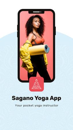 Ontwerpsjabloon van Instagram Video Story van Yoga App Ad with athlete woman on phone screen