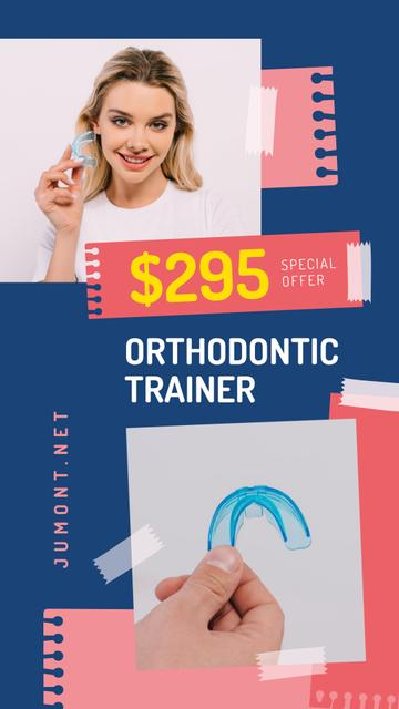 Dental Clinic Promotion Woman Holding Trainer Instagram Story Modelo de Design
