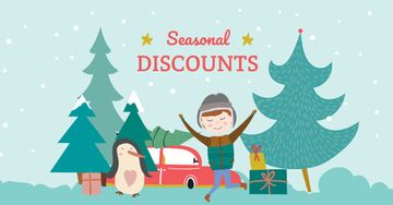 Seasonal Winter Discounts with Happy Kid
