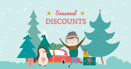 Plantilla de diseño de Seasonal Winter Discounts with Happy Kid Facebook AD