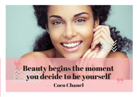 Modèle de visuel Beautiful young woman with inspirational quote - Card