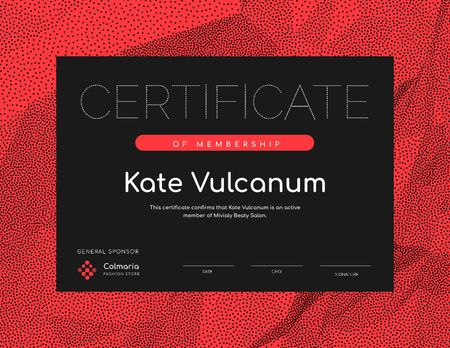 Beauty Salon Membership confirmation in red Certificate Design Template