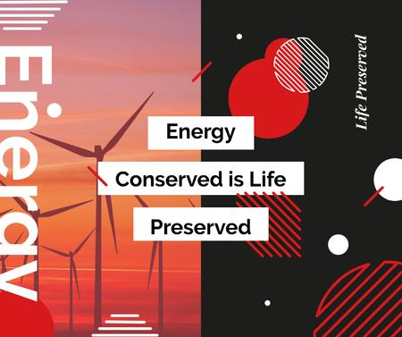 Plantilla de diseño de Wind turbines farm in red Facebook