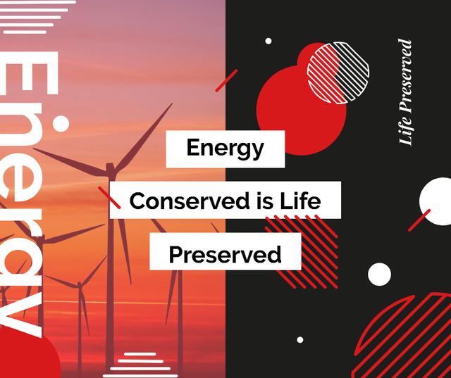 Wind turbines farm in red Facebook Modelo de Design