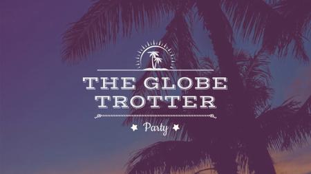 Summer Beach Palm Trees at sunset FB event cover – шаблон для дизайну