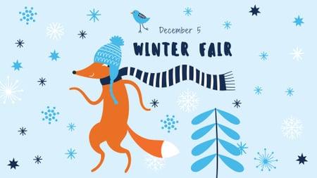 Plantilla de diseño de Winter Fair Announcement with Cute Fox in Scarf FB event cover