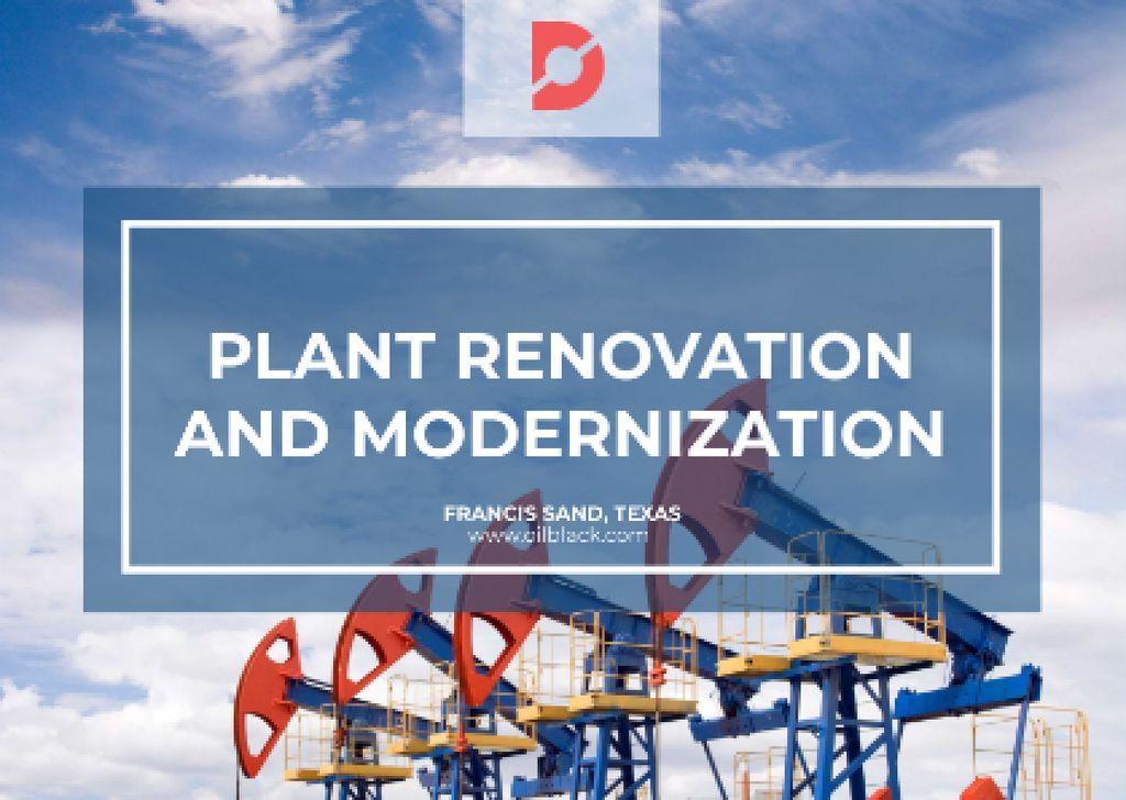 Plantilla de diseño de Plant modernisation with Construction Cranes Postcard