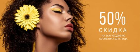 Beauty Products Ad with Woman with Yellow Makeup Facebook cover – шаблон для дизайна