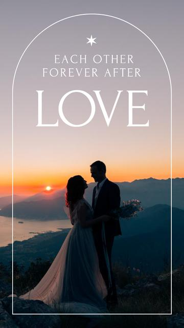 Romantic Couple in Sunset on Wedding Day Instagram Story Design Template
