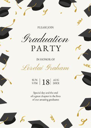 Designvorlage Graduation Party Announcement with Graduators' Hats für Invitation