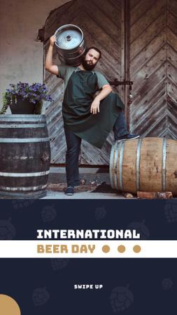 Designvorlage Beer Day Discount Brewer with Barrels für Instagram Story