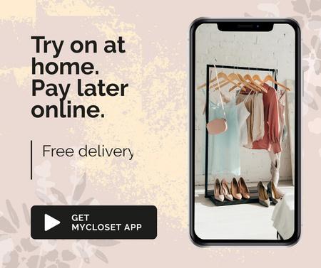Designvorlage Online Shop Ad with Closet on Phonescreen für Facebook