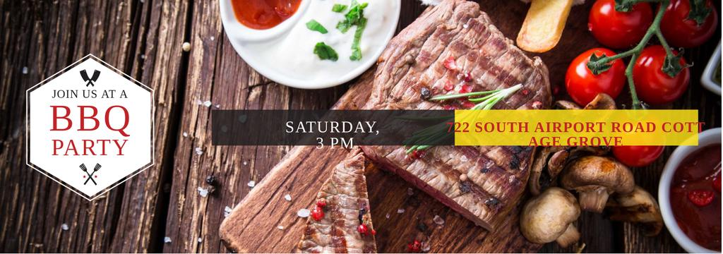 BBQ Party Invitation with Grilled Steak — Створити дизайн