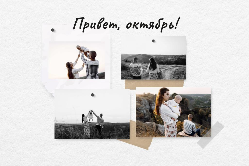 Family walking in the Autumn field Mood Board – шаблон для дизайна